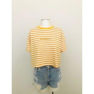 Striped Cropped T-Shirt - 'Honey'